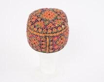 multicolored embroidered traditional skull cap vintage ethnic tribal hat men women small black orange green