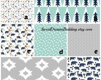 Custom Bedding Woodland Bear Bedding orange, mint,navy,grey Bear Trees Customize your set crib sheet,changing pad cover,skirt,bumper,blanke