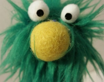 FUZZINGER: A Fuzzy Finger Puppet by All Hands Productions! (kelly green)