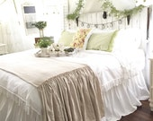 Bed Scarf | Ruffled Bed Cover | Bed Scarf Runner | Linen Bed Scarf | Bed Runner | Linen Bedding | Shabby Chic Bedding