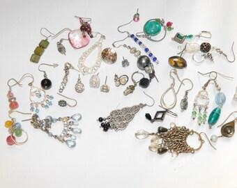 Vintage Rhinestone Destash Jewelry Lot single Earrings lot