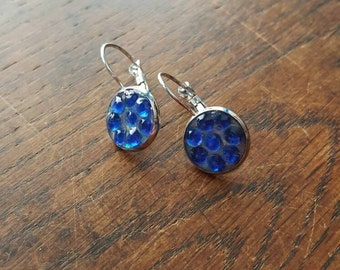 Royal Blue rhinestone and glitter Earrings, sparkly, glittery, party, bridal, hen, gift occasion jewellery