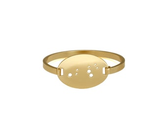Leo 14kt Gold Dipped Zodiac Constellation Oval Bracelet
