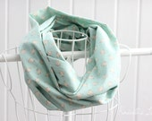 scarf mint green floral infinity scarf circle scarf double gauze cotton