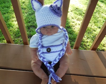 Diaper Cover/Purple Kitten Hat Set  for 0-3 Month Baby Girl or Reborn Doll in White with Purple Trim.