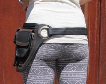 Leather Utility  Belt Bag Leather Hip Belt Bag Travel Festival Belt with Pockets Cross Body Bag in Brown HB35B