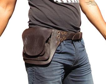 Leather Utility Belt, Leather Belt Bag, Hip Belt Bag, Pocket Festival Pouch Belt in Brown-HB19G  * Free Shipping*
