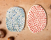 platter pair dots red green decoration clay unique poterie plates collection ceramica polli pots handmade studio pottery scandinavian