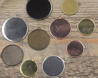 50 Pendant Trays 1 inch Round- Brass Bronze/ Silver/ Gold/ Rose Gold/ White Gold/ Gun-Metal Plated 25mm Round Bezel Setting W/ ring- Z5736