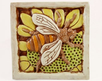 Ceramic Art Tile, BEE on FLOWER - YELLOW, Wall Art, 4 x 4 Handmade Tile