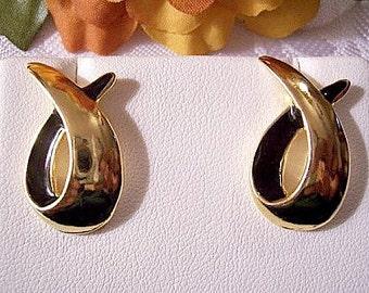 Black Swirl Loop Pierced Post Stud Earrings Gold Tone Vintage Avon Graduated Band Open Discs