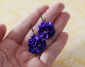 Purple flower earrings, Purple lilac earrings, dangle floral earrings, floral earrings, handmade earrings, spring earrings