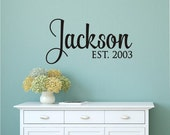 Personalized Family Name, Custom Last Name Vinyl wall decal sticker, family name removable decal