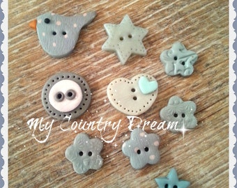 "Handmade Buttons "" Together"" - polymer clay buttons"