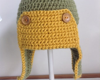 Crochet aviator hat green and gold kids