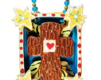 Tree Bark Cross in a Box with Stars Ceramic