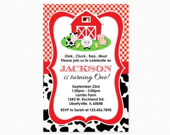 Farm Birthday Party Invitation, Red Barn, Pig, Chicken, Cow, Sheep, Boy, Girl, Personalized, Printable, Professionally Printed