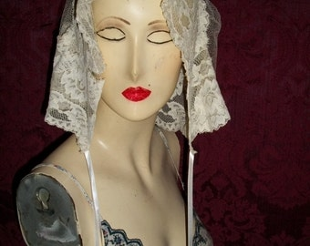 ANtique 20s Victorian Lace Bonnet Juliet Cap Veil