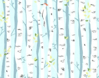 Michael Miller Backyard Baby Birch Forest Aqua Fabric - 1 yard