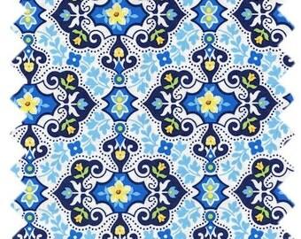 Michael Miller Garden Charm Blue fabric - 1 yard