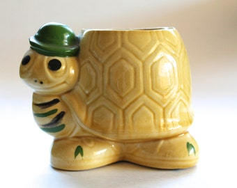 Vintage 1970's Yellow and Green Turtle Planter!