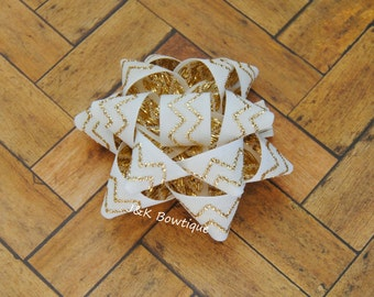 Cream and gold chevron....Christmas gift bow.....sculpted hair bow