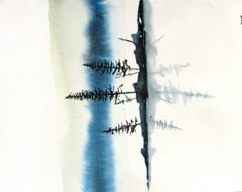 Lake Mist - Original Watercolor Painting