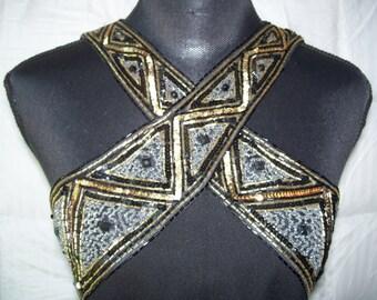Vtg A.J. Bari Black Full Length Slvless Dress w/Sequin Cross Straps Sz 8