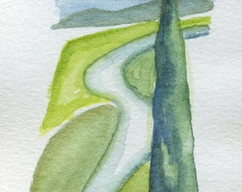 Small watercolor Tuscany Green Landscape Watercolor Tuscany hill whit cipress Bookmark Watercolor Art Wall Decor