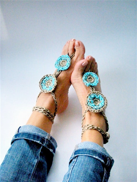 Turquoise Crochet Barefoot Sandals, Boho Turquoise anklets, Beach Wedding Hippy anklets, Nude shoes, Foot jewelry Yoga sandals, Gift for her