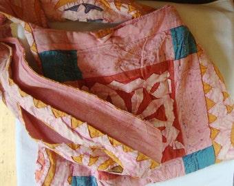 Vintage Boho QUILTED Fabric Crossbody Shoulder Bag JA VINTAGE Cotton Bag Made India Pinks Blues Mustard Died 100% Cotton Shoulder Bag