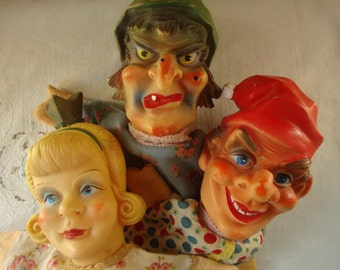 3 Vintage HAND PUPPETS Theatrical Dramatic Antique Hand Puppet Trio Evil Witch Puppet Blonde Princess Puppet Joker Jester Man Puppet