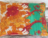 Pillow Cushion Cover Indian Flowers 14 x 18 inch 35 x 45 cm Bright Colours. Kantha Pillow Cover.