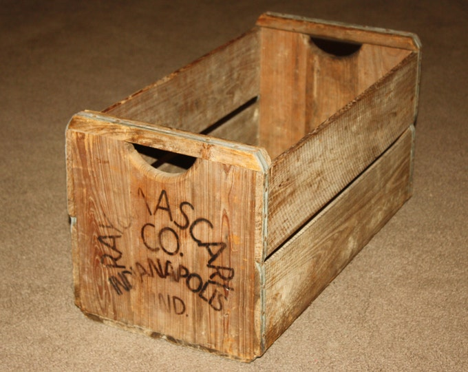 Extra Long Vintage Wooden Produce Crates; Fruit Vegetable Farm Boxes with stenciled/burned in names