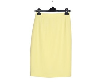 ON SALE Vintage New GERARD Pasquier Paris Pale Yellow Skirt Size 8 France 38 Pastel Classic Fully Lined