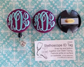 Matching Stethoscope Id & Badge Reel/ Name Badge Holder Set - Embroidered Monogram- by Flowersaks