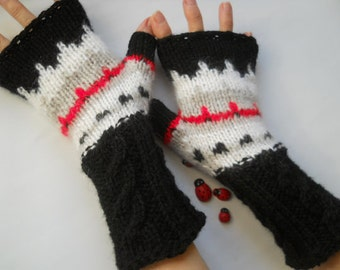 HAND KNITTED GLOVES / Women Accessories Fingerless Mittens Elegant Warm Wrist Warmers / Crochet Winter Arm Romantic Cabled Gift Feminine 793