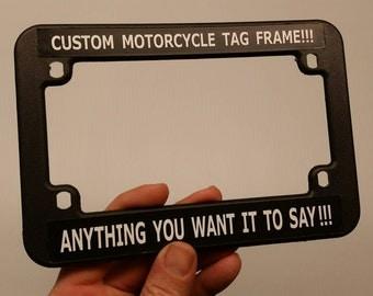 2 Motorcycle license plate frames CUSTOM Tag holder Fits Harley Honda Suzuki Yamaha Gold Wing fat & Plate frame custom | Etsy