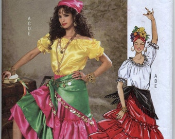 Gypsy Costume - Western Costume -  Ruffled Top, Skirt & Scarf Sewing Pattern - Butterick 4889 - Sizes Large - X-large (Sizes 16-22) UNCUT