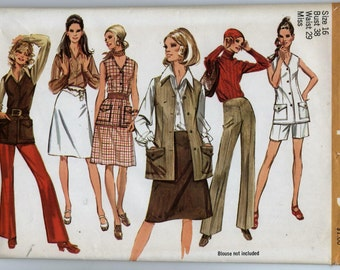 Misses' Pants in Two Lenghs, Vest and Skirt Sewing Pattern - Simplicity 9512 - Size 16 - Bust 38 - UNCUT