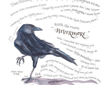 The Raven print, 14x14 in. giclee of watercolor calligraphy poem, Edgar Allan Poe's excerpt