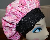 Sea of Flamingos  Banded Bouffant Surgical Cap by Nurseheadwear Bakers Cap