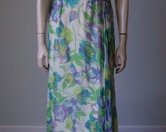 1960s Elegant Printed Silk Chiffon Evening Gown // Grecian Style // Pleated Bodice // Floating Panel // Medium