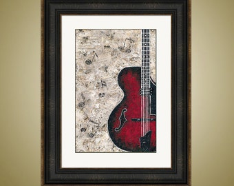 PRINT or GICLEE Reproduction -- Guitar and Sheet Music -- Perfect for Music Lovers -- by Britt Hallowell