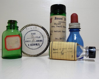 Glass Medicine Bottles and Tin Medicine Cabinet Contents Blue Green and Clear Pharmacy Bottles
