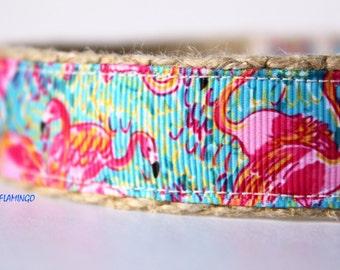 Pink Flamingo Dog Collar, Colorful Dog Collar, Dog Collar, Adjustable Dog Collar, Pet Accessory, Girl Dog Collar