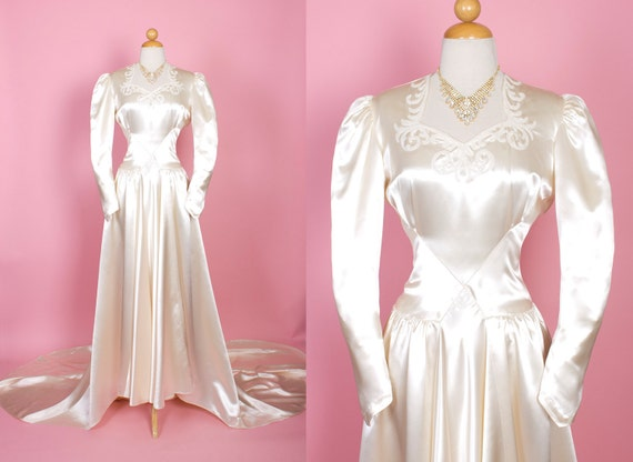 STUNNING Early 1940's Glowing Candlelight Cream Cotton Sateen Wedding Gown w/ Hand Beaded Neckline, Heart Shaped Bodice, Draped Train - L
