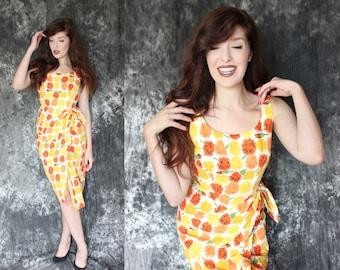 Vintage 1960s Handmade Marigold Print Cotton Wiggle Dress