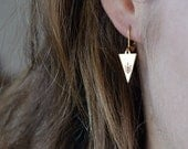 ARROW earrings // raw brass hook earrings // hand stamped jewelry