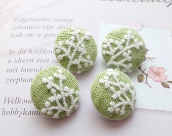 Fabric Covered Buttons - Chic Embroidery White Floral Branches On Grass Green (4Pcs, 0.87 Inch)